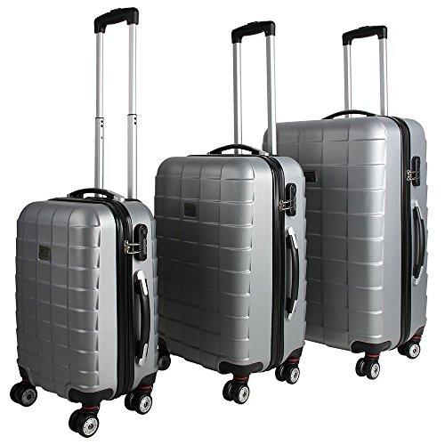 Monzana® 3er Kofferset Hartschalenkoffer Reisekofferset Koffer Trolley gummierte Zwillingsrolle ABS-Schale Alu-Teleskopgriff Silber