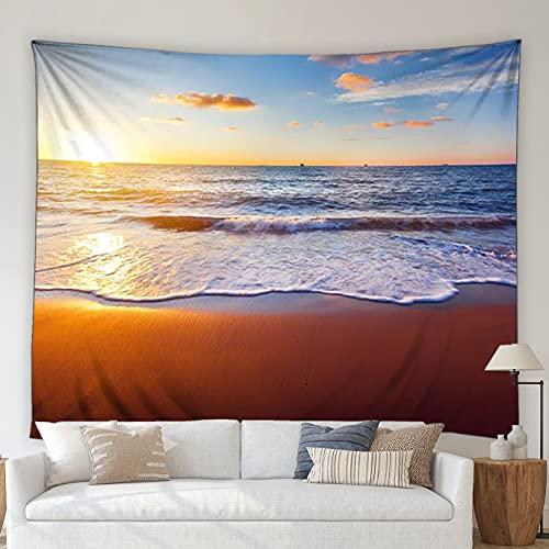 DSENG tapizOcean Beach Landscape Tapestry Blue Ocean Waves Hot Air Balloon Summer Scenery Living Room Mural Wall Hanging Blanket Picnic Mat