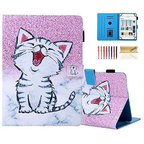 8 Inch Universal Tablet Case - Dteck Protective Leather Wallet Flip Cover Case with Card Slots for Fire 8/ Samsung Tab 8' /Lenovo 8in /Dragon Touch 8.0 /ASUS ZenPad 8/8.0 Android Tablet (Marble Cat)