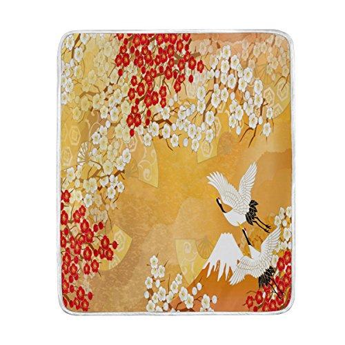 Use7 Wohndekoration, japanischer Stilvoller Kran, Kirschblüten-Decke, weich, warm, für Bett, Couch Sofa, leicht, für Reisen, Camping, 127 cm x 152,4 cm, Überwurfgröße für Kinder, Jungen und Frauen