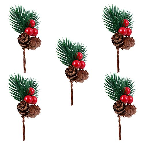 TOYANDONA 5Pcs Red Holly Berries Stems Christmas Pine Branches Artificial Pine Cones Branch Craft Wreath Pick Winter Holiday Floral Picks Holly Stem for Decoration Xmas Garland Crafts