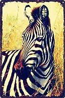 メタルサインヴィンテージ家の装飾シマウマ動物草原シマウマ ブリキサインメタルプラーククールメタルプレートコーヒーメタルポスター