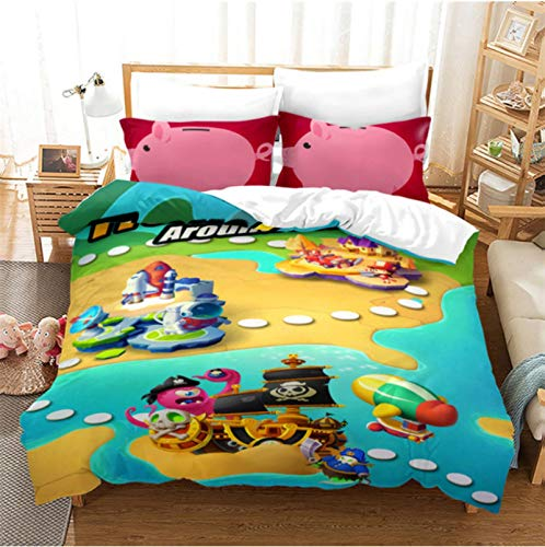 Hanyyj Duvet Cover 3D Printing Roblox Pattern Duvet Cover With Pillow Cover Game Bedding 135X200Cm