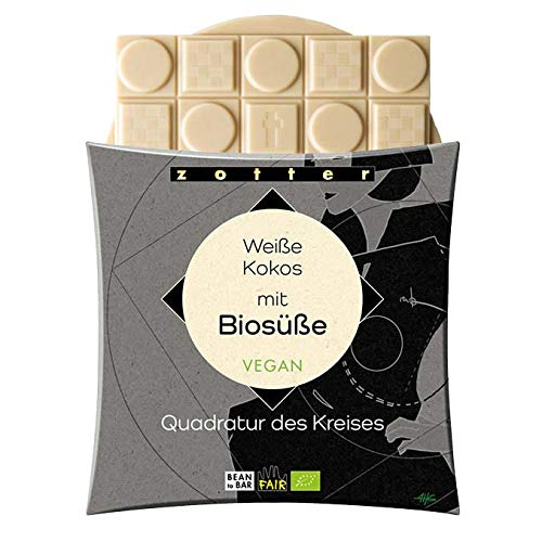 Zotter Bio Schokolade weiße Kokos mit Biosüße (Erythrit) Quadratur des Kreises Vegan 70g