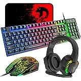 QWERTZ Gaming Tastatur Maus Headset Set, DE Layout Regenbogen LED Hintergrundbeleuchtung Ergonomische Tastatur + 7-farbiges LED-Atemlicht Gaming Maus+RGB Gaming Headset, Kompatibel mit PS4 Xbox