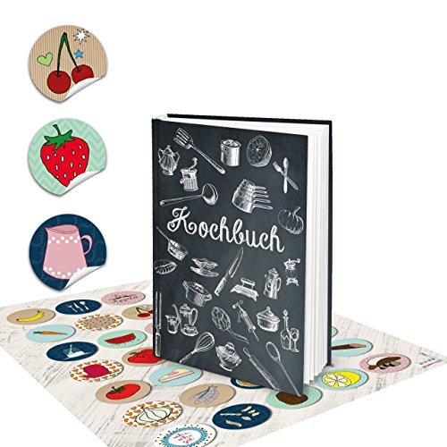 Set receptenboek klein om zelf te schrijven, zwart, wit, vintage, nostalgie, DIN A5 + kleurrijke keukenstickers, kookboek, boek, met recepten, lievelingsrecepten, als geschenk keuken koken