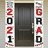Bunny Chorus Graduation Porch Sign Set, Congrats Grad Class of 2021 Home for Outdoor Indoor, Red Black Hanging Banner Yard Porch Decor Party Decoration Ornament Style 2