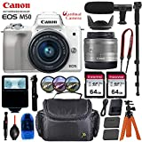 Canon EOS M50 Mirrorless Digital Camera - Silver w/15-45mm Lens + Pro Accessory Bundle (Including Digital Flash, Sturdy Equipment Carrying Case, 2X 64GB Transcend Memory Cards and More.)