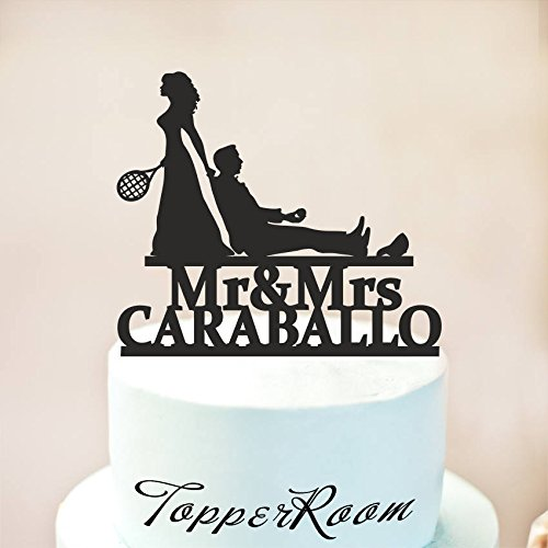 Tennis Wedding Cake Topper,Wedding Cake Topper,Tennis Cake Topper,Tennis Party,Sports Wedding Cake Topper,Tennis Team,Bride And Groom Wooden Or Acrylic Cake Topper Cake Decoration