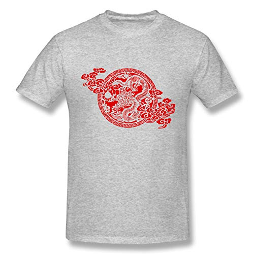 Chinese Dragon Paper Cutting Men Standard Tee Gray 3XL