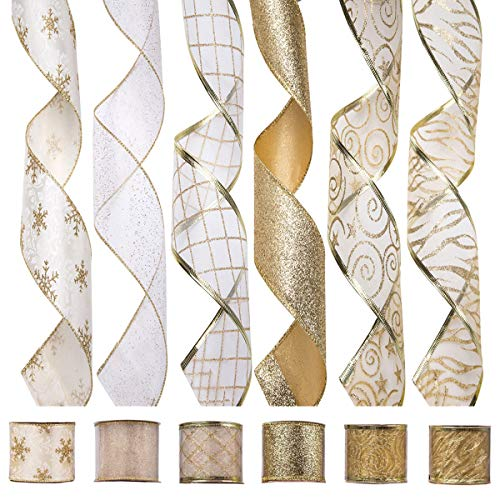 ARCCI Christmas Wired Edge Ribbon, Holiday Party Assorted Organza Swirl Sealing Sheer Glitter Gift Wrapping - 36 Yards (6 Rolls x 6yd) 2.5 Inch - Gold/White