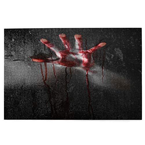Yoliveya Sierra calar de 1000 Piezas,Escena de Terror con Mano ensangrentada contra el Cristal de Halloween,Juegos Rompecabezas imágenes para Adultos y niños Regalo graduación de Boda Familiar