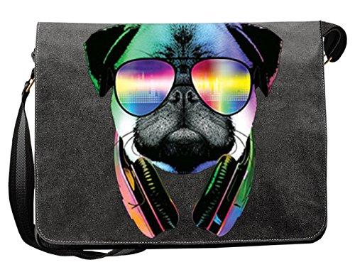 Mops/Umhängetasche/Tasche-Vintagelook mit Dog-Neon-Druck: DJ Pug für Hundefreunde