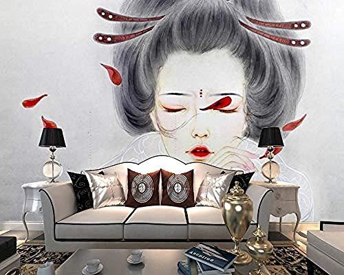 Handgetekende Beroemde Japanse Kimono Beauty Restaurant 3D Poster Foto's Muren Kunst Kinderen s Kamer Cartoon Ch Behang Grijs Muursticker Border Woonkamer voor Slaapkamer Rose Blauwe muurschildering Kinderen 400 cm.