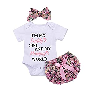 Honykids 3PCS Newborn Baby Girl Romper Jumpsuit Bodysuit +Pants Shorts+Headband Outfit Set