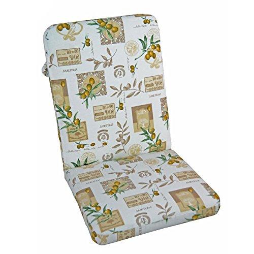 OUTLIV. Polsterauflage 107x50cm Royal Garden Excelsior/Balero Gartenstuhl Hochlehnerauflage Sitz-/Rückenkissen weiß Gemustert Sitzauflage Gartensessel