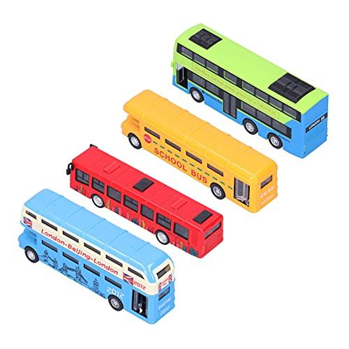 4 Pcs Bus Model Alloy Car Bus Model Kids Gift Cartoon Pattern Vehicle Model(C)