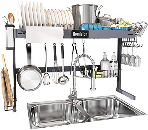 Over The Sink Dish Drying Rack Height Adjustable, Romision Stainless Steel Large Dish Drainer Shelf Above Sink Expandable for Kitchen Counter Organization Storage with 6 Hooks(30