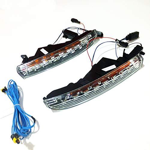 July King LED Tagfahrlicht DRL DRL-V-W-CC-2009-B für CC 2009-2012, LED Front Stoßstange Licht mit gelben Blinker Licht