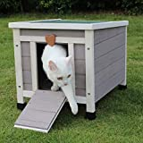 Best Cat Houses - ROCKEVER Small Animal Houses Outdoor, Wooden Rabbit Hutch Review