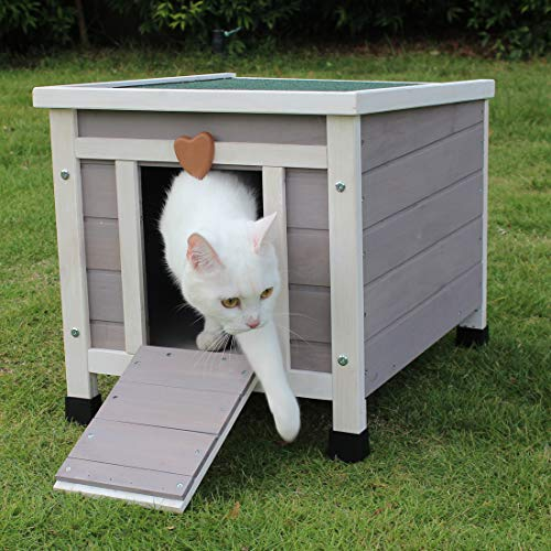 ROCKEVER Small Animal Houses Outdoor, Wooden Rabbit Hutch Elevated with Door, Feral Cat