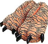 QAQA Invierno Divertido de Animales de Pata de Pelo, Dinosaurio Pata Zapatos de la Historieta, Felpa Linda Divertido Garra de Las de niño Interior (Color : Tiger, Size : L)