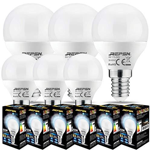 REPSN® 8W=60W Ampoules LED Standard Culot E14,G45 8W équivalent 60W, Blanc Froid 6000K,Dépolie,Lot de 6