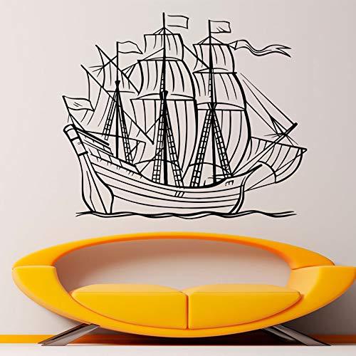 zhuziji Real Madrid Wandaufkleber Horridsailing Line Bild Mit Segel Dashi Nautical Graphics Home Nordic Schlafzimmer, Campus, Kindergarten Mit Vinyl Pvc99X85Cm