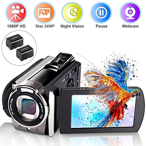Video Camera Camcorder, Ifmeyasi 1080P Full HD 24MP Digital YouTube Vlogging Camera Recorder, 16X Digital Zoom 3.0' LCD 270 Degree Flip Screen Camcorders with 2 Batteries