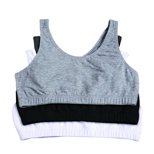 Fruit of the Loom Girls' Big Cotton Built-up Sport Bra, Black/White/Grey Heather - 3 Pack, 34