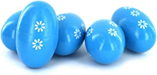 PASKMALL 5 Rhythm Wood Egg Shakers Maracas Children Kids Musical Percussion Toy Blue