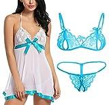 Xs and Os Combo Offer! Women Babydoll Nightwear Lace Bra Panty Lingerie Set (Pack of 2 (Cyan), Free Size)