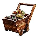 OULVLIFE Maceta de madera rústica para plantas suculentas para interior y exterior, jardín de casa, patio (37 x 26 x 17 cm)