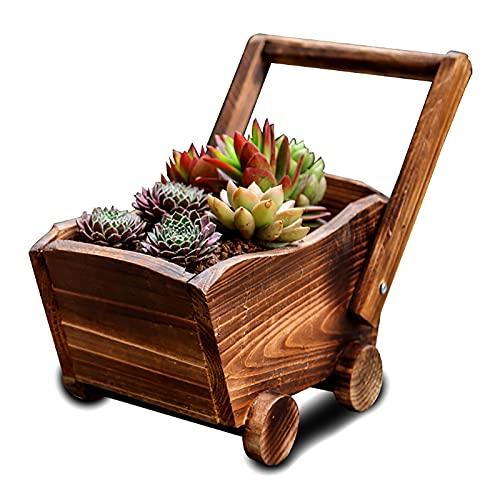 OULVLIFE Maceta de madera rústica para plantas suculentas para interior y exterior, jardín de...