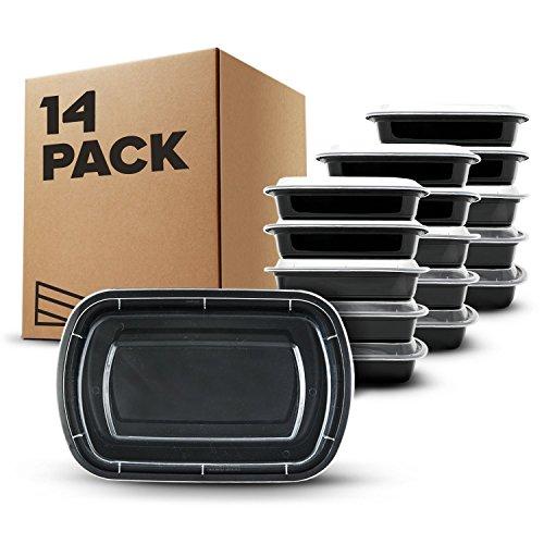 [14 piezas] Contenedores de Alimentos con 1 Compartimiento sin BPA | Fiambrera de Plástico Reutilizable con Tapa. Apilable, se Usa en el Congelador, Microondas y Lavavajillas. Bento Box + Ebook