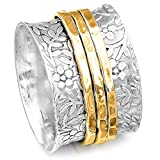 Boho-Magic 925 Sterling Silver Spinner Flowers Ring for Women with 3 Brass Fidget Rings Wide Band (6)