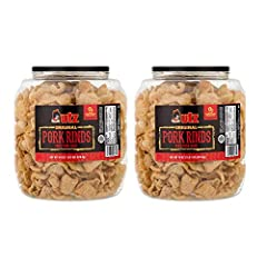 Light, fluffy fried pork snack Perfect for parties, game day and more A gluten-free and carb-free snack 8 grams of protein per serving 2 barrels, 18 ounces each