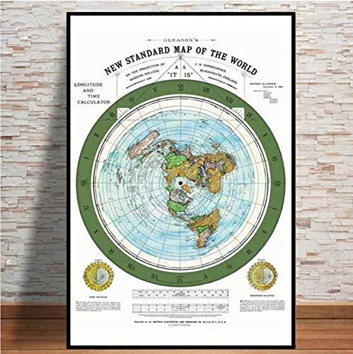 Cartel, Mapa Mundial 1892 Mapa De La Tierra Plana