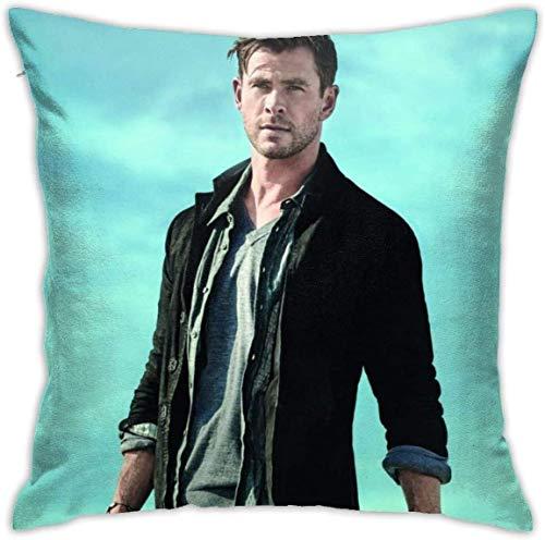 'N/A' OMAJIG QWERTYKKK Chris-Hemsworth - Funda de almohada cuadrada de moda para regalo de Navidad, cumpleaños de 45 cm