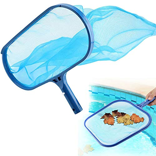 Blue Leaf Skimmer Net, Fine Mesh Plastic Deep Bag Swimming Pool Pond Tub Cleaning Tool, Swinging Pool Nets Above Ground Pool Maintenance for Cleaning Surface Swim Pools Hot Tubs Spas (Deep Bottom)