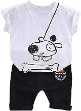 مجموعة تي شيرت بأكمام قصيرة مطبوع عليه جرو Wogo للأطفال الأولاد والبنات الكرتونية طقم ملابس وسروال قصير, 90