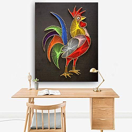 Kleur kip garen schilderij diy driedimensionale decoratieve schilderij handgemaakte nagel string zijde wikkeling 30 * 40cm
