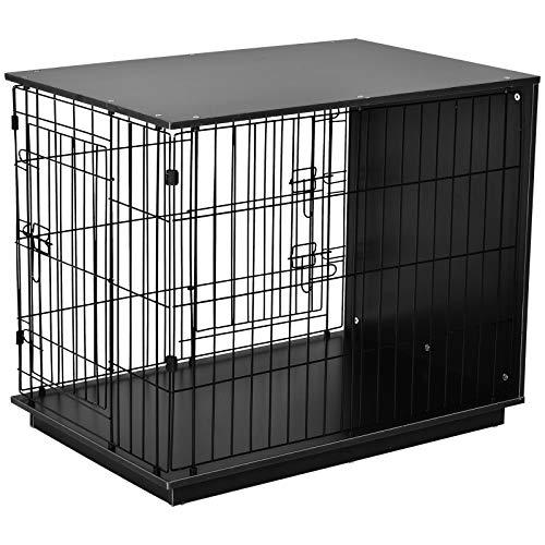 Pawhut Hundekäfig, Hundehaus mit 2 Türen, Hundebox für Innen, Beistelltisch, Metalldraht, MDF, Schwarz, 89 x 60,5 x 73,5 cm