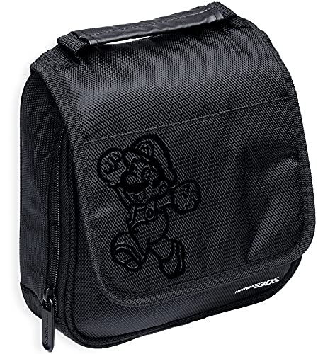 Nintendo Super Mario 3DS Carrying Case Compatible With Nintendo Switch, 2DS, 3DS, 3DS XL, DS, DS XL, DS Light Handle & Shoulder Strap Traveling Carry Case With Hard Zipper Black Officially licensed