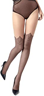 Mock Suspender Tights Over Knee Stockings Illusion Thigh Highs