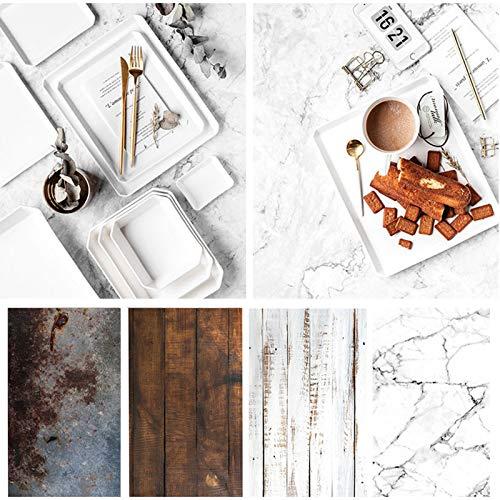 Papel fotográfico de madera de mármol, paquete de 4 rollos de 56 x 86 cm, diseño rústico de doble cara para fotos de alimentos,...