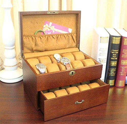 Boîtier de stockage d'affichage de boîte de montre de verre en bois clair Vintage Top coffre détient 20+ montres avec oreillers souples réglables et haut dégagement pour les grandes montres , a