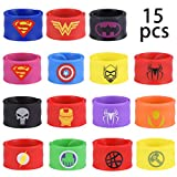 Yidaxing 15 Pezzi Superhero Braccialetti Slap, Superhero Slap Bracelet per Bambini, Ragazzi e Ragazze Supereroi Birthday Party Supplies Favors Toys (Silicone)