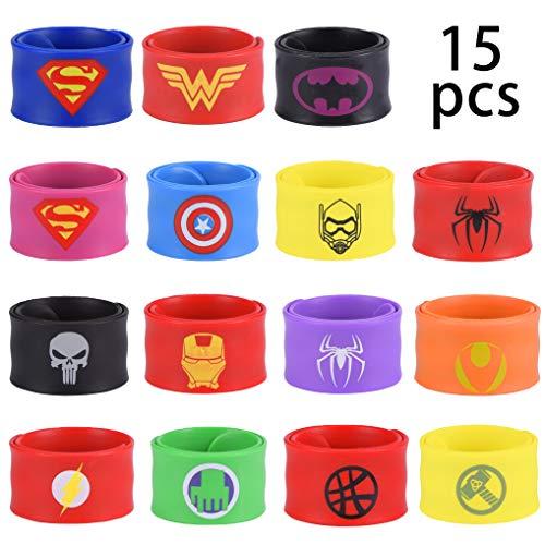 Yidaxing 15 Pezzi Superhero Braccialetti Slap, Superhero Slap Bracelet per Bambini, Ragazzi e Ragazze Supereroi Birthday Party Supplies Favors Toys (Silicone)
