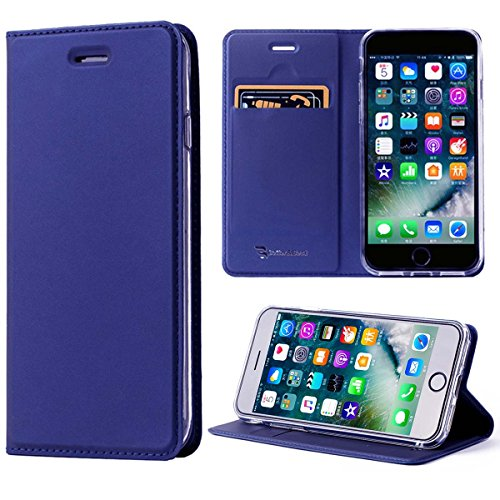 【改善版】 iPhone8Plusケース / iPhone7Plusケース 手帳型 薄型 耐衝撃 アイフォン8/7 プラスカバー ブルー